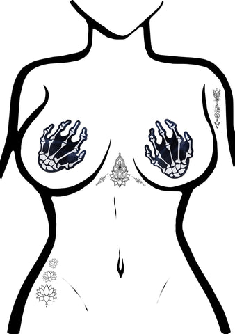 Pastease Boney Skeleton Hands Nipple Pasties in Black/White