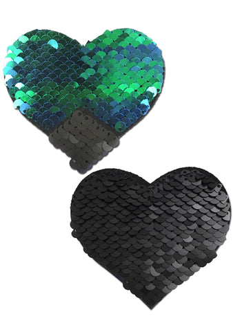 Love Color Changing Sequin Heart Nipple Pasties in Black/Opal