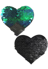 Pastease Love Color Changing Sequin Heart Nipple Pasties in Black/Opal