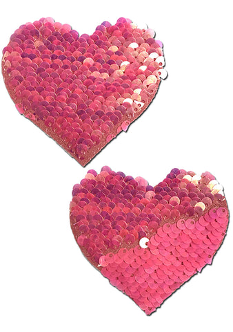 Pastease Love Color Changing Sequin Heart Nipple Pasties in Hot Pink/Matte Pink