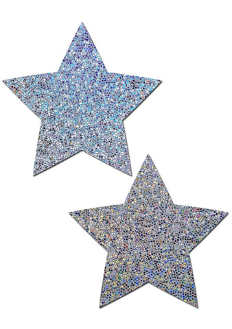 Pastease Everyday Glittering Star Reusable Nipple Pasties in Silver