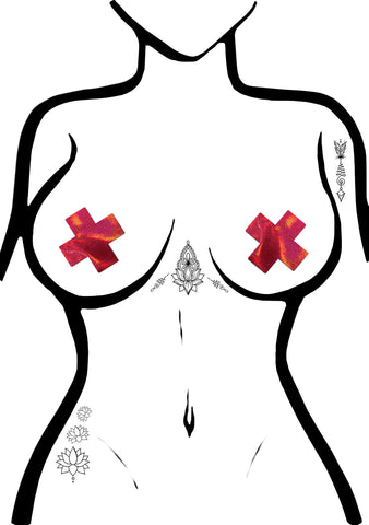 Pastease Everyday Cross Reusable Nipple Pasties in Liquid Red