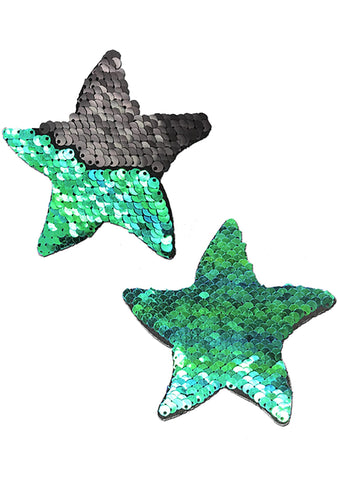 Pastease Starfish Flip Sequin Sea Star Nipple Pasties in Black/Opal
