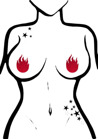 Glitter Flame Nipple Pasties in Red