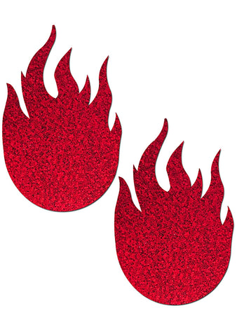 Pastease Glitter Flame Nipple Pasties in Red