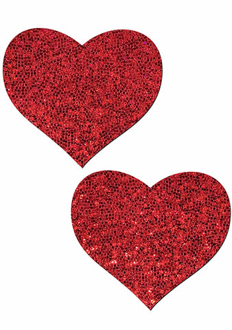 Love Glitter Heart Nipple Pasties in Red