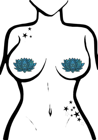 Pastease Glitter Ohm Lotus Nipple Pasties in Blue Green