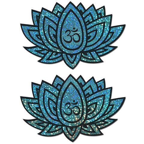 Glitter Ohm Lotus Nipple Pasties in Blue Green