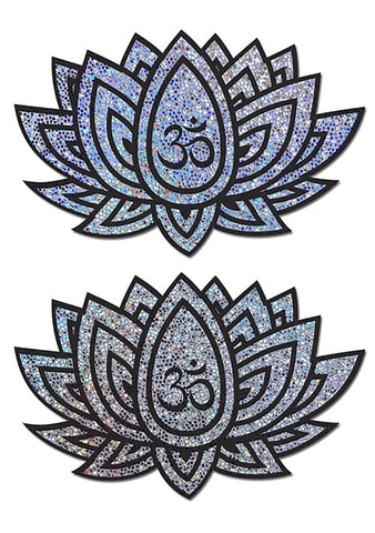 Glitter Ohm Lotus Nipple Pasties in Silver