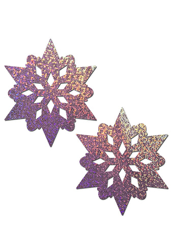 Glitter Snowflake Nipple Pasties in Lilac