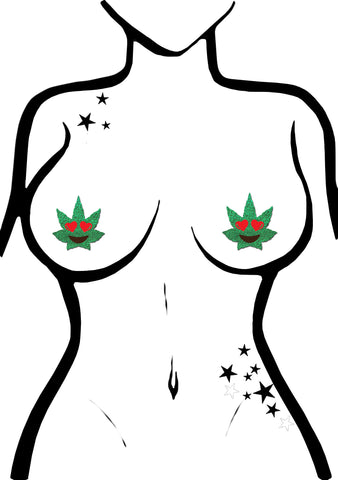 Pastease Indica Pot Leaf Glitter Heart Eyes Weed Nipple Pasties in Green