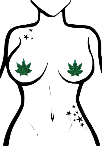 Indica Pot Leaf Glitter Weed Nipple Pasties in Green