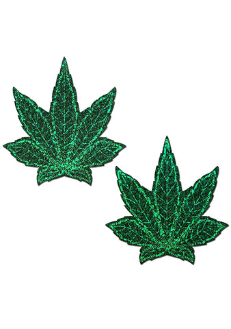 Pastease Indica Pot Leaf Glitter Weed Nipple Pasties in Green