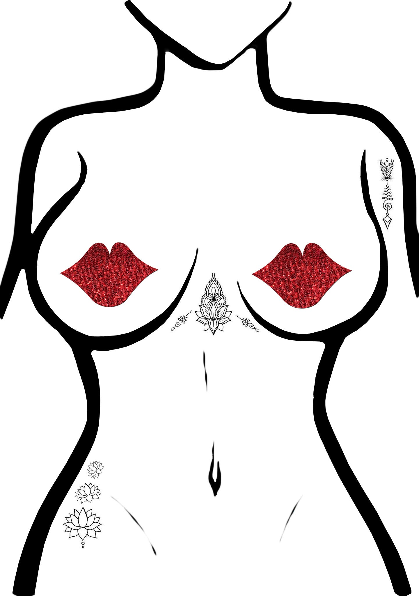 Kisses Glittering Lip Nipple Pasties in Red