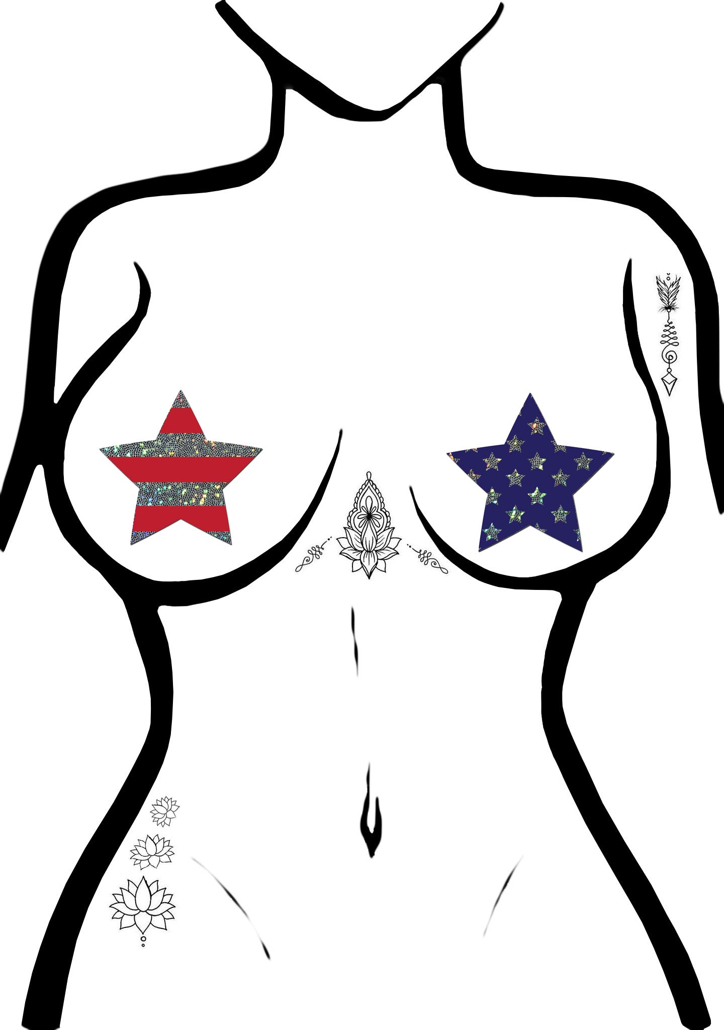Pastease Glittering Stars & Stripes Patriotic Star Nipple Pasties