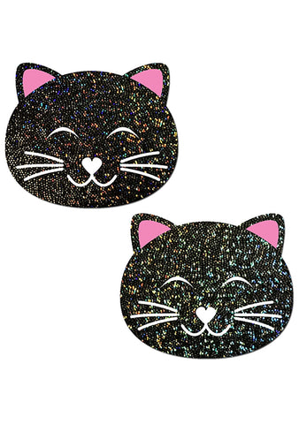 Pastease Happy Kitty Cat Glitter Nipple Pasties in Black