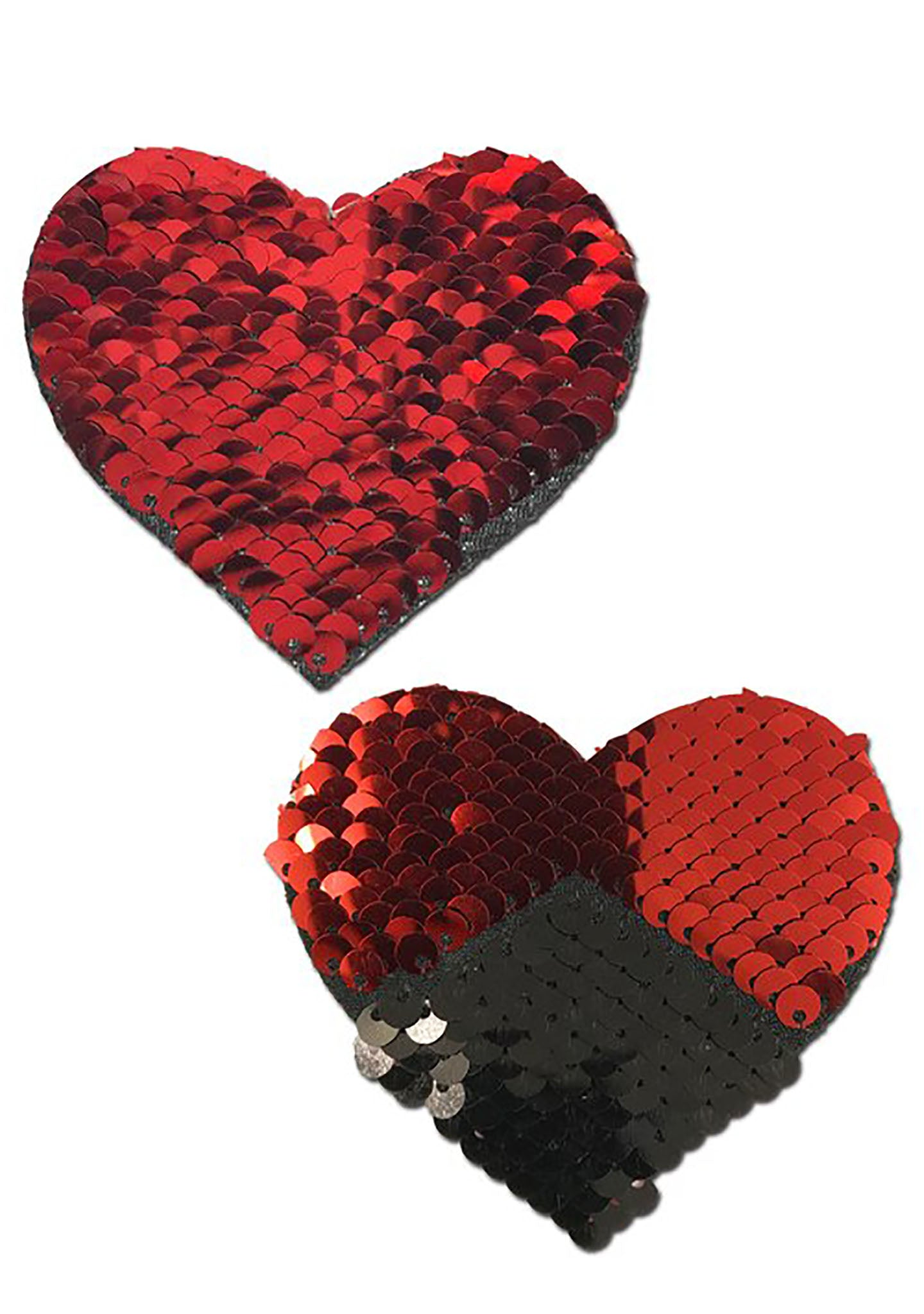 Love Color Changing Sequin Heart Nipple Pasties in Black/Red