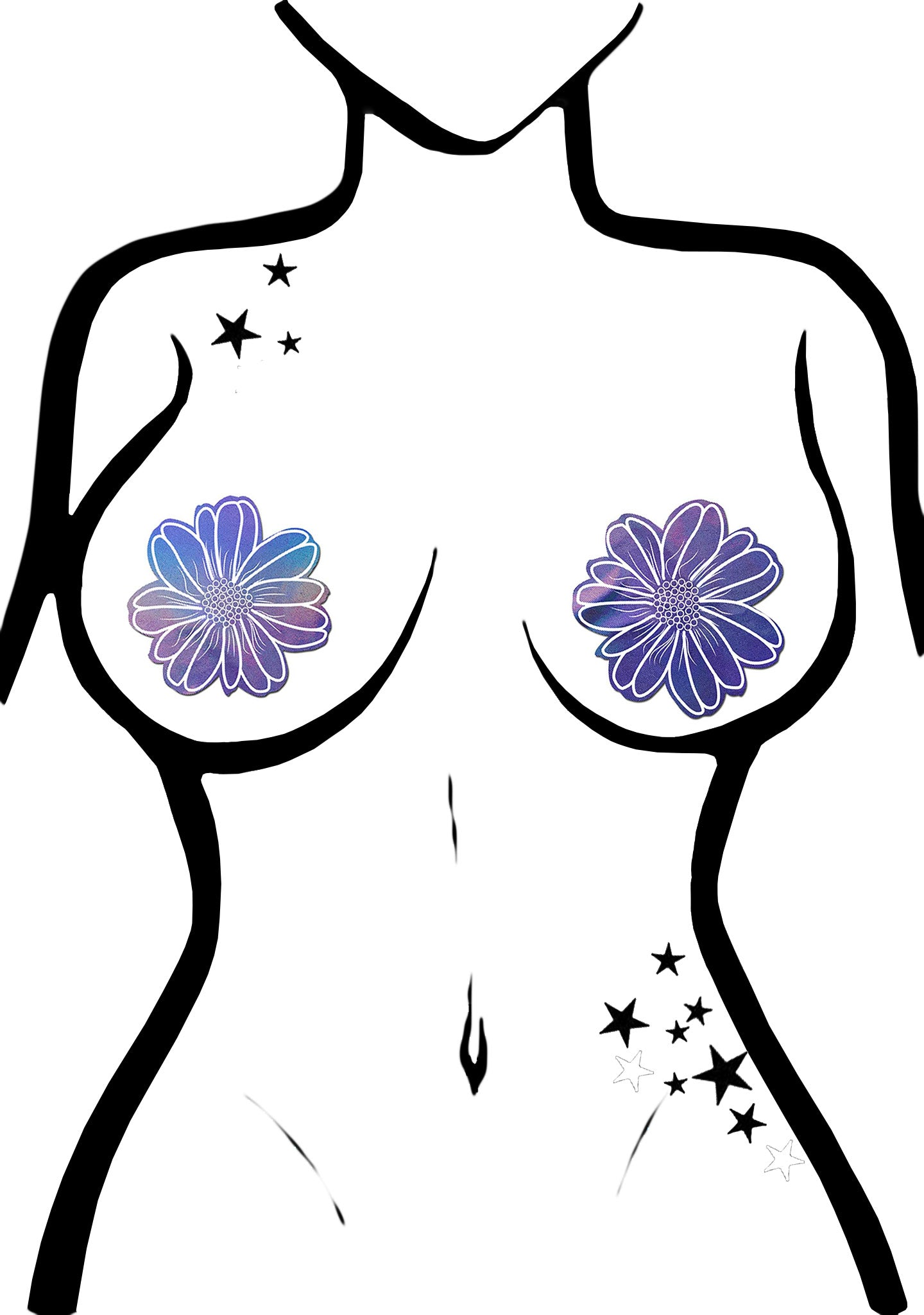 Holographic Wildflower Nipple Pasties in Lavender