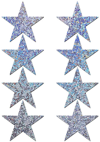 Pastease Body Minis Silver Glitter Star Nipple & Body Pasties 8PK Set