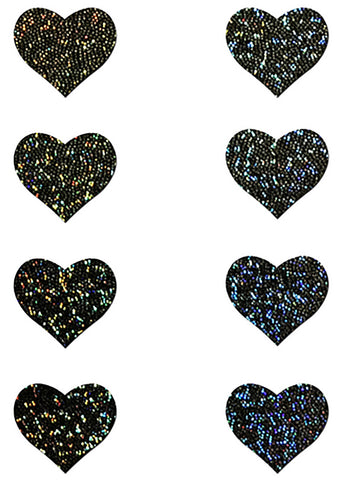 Pastease Body Minis Black Glitter Heart Nipple & Body Pasties 8PK Set