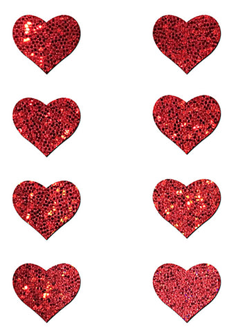 Body Minis Red Glitter Heart Nipple & Body Pasties 8PK Set
