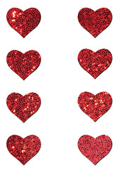 Pastease Body Minis Red Glitter Heart Nipple & Body Pasties 8PK Set
