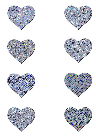 Pastease Body Minis Silver Glitter Heart Nipple & Body Pasties 8PK Set