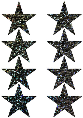 Body Minis Black Glitter Star Nipple & Body Pasties 8PK Set