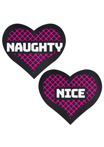 Pastease Love Naughty & Nice Heart Nipple Pasties in Black/Pink