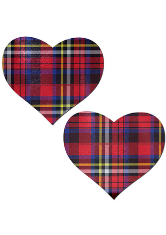 Pastease Love Plaid Punk School Girl Heart Nipple Pasties in Red