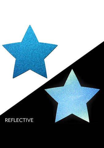 Pastease Reflective Star Nipple Pasties in Blue