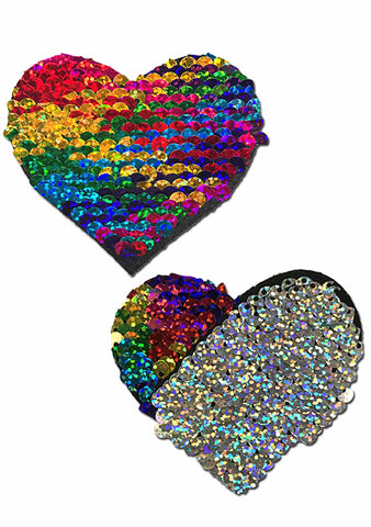 Pastease Love Glitter Color Changing Sequin Heart Nipple Pasties in Rainbow