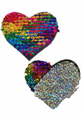 Love Glitter Color Changing Sequin Heart Nipple Pasties in Rainbow