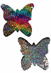 Pastease Monarch Color Changing Sequin Butterfly Nipple Pasties in Rainbow