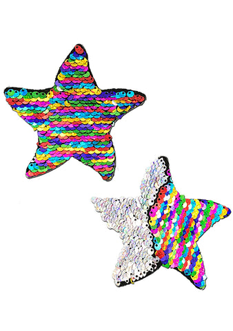 Starfish Glitter Sequin Sea Star Nipple Pasties in Rainbow