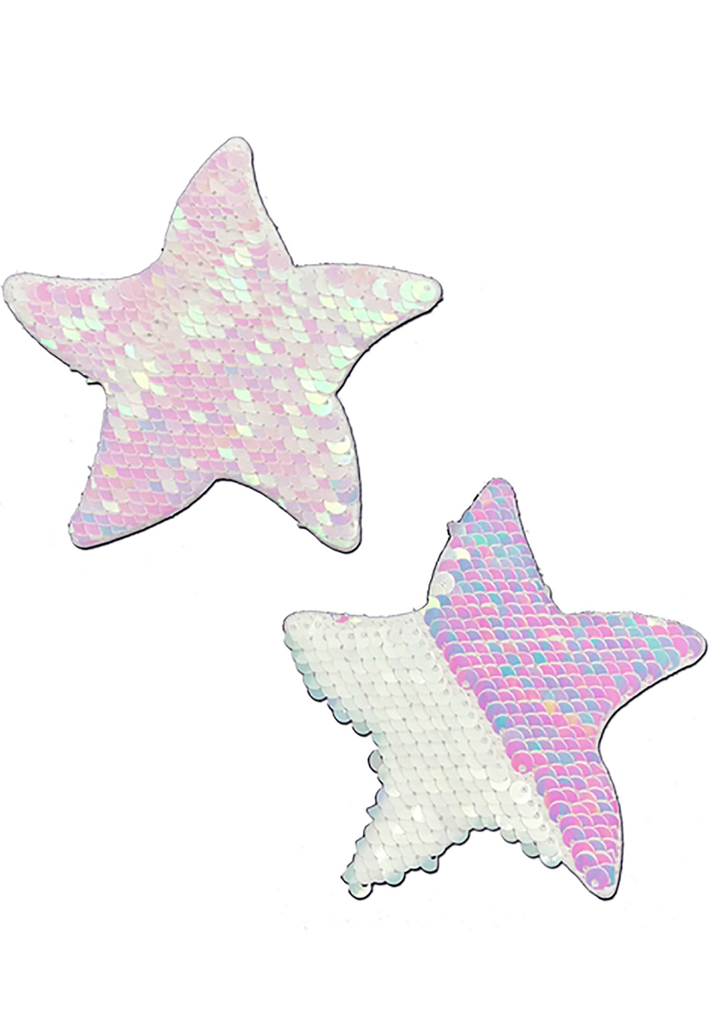 Pastease Starfish Flip Sequin Sea Star Nipple Pasties in White/Pearl