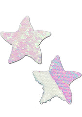 Starfish Flip Sequin Sea Star Nipple Pasties in White/Pearl