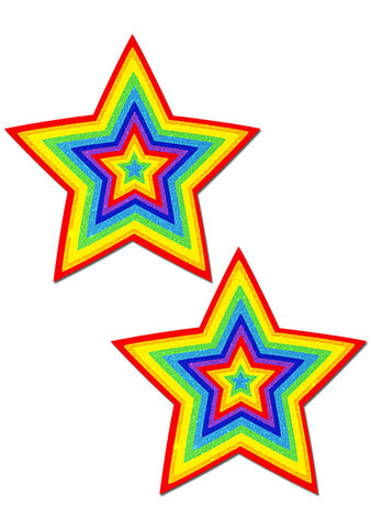 Pastease Star Velvet Pumping Nipple Pasties in Rainbow