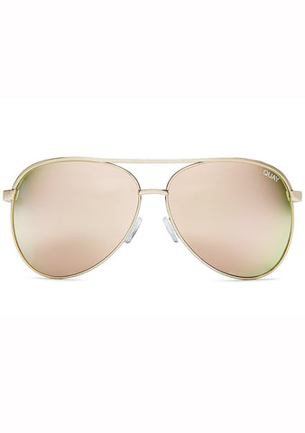 Quay Australia Vivienne Aviator Sunglasses in Gold/Rose
