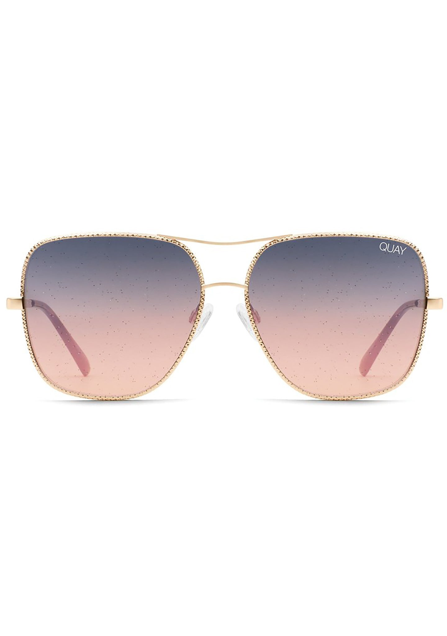 Stop And Stare Twist Sunglasses in Gold Navy Peach