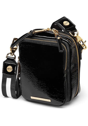 Camera Crossbody Bag in Black/Gold