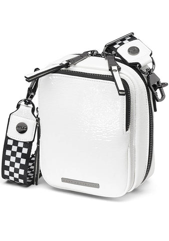 Camera Crossbody Bag in White/Gunmetal
