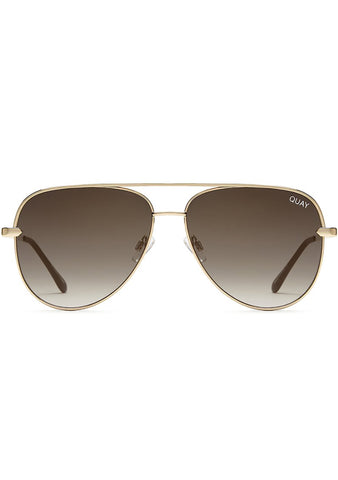 X Desi Perkins Sahara Sunglasses in Gold/Smoke Taupe