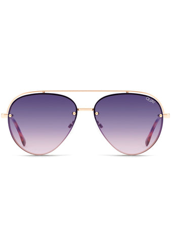 Long Story Sunglasses in Gold Purple