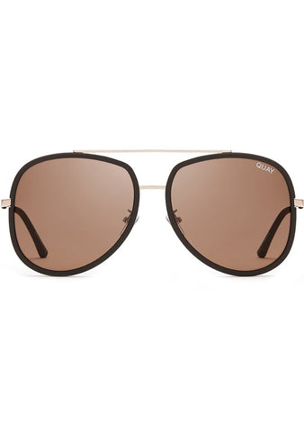 Quay Australia Needing Fame Sunglasses in Gold/Chocolate Brown