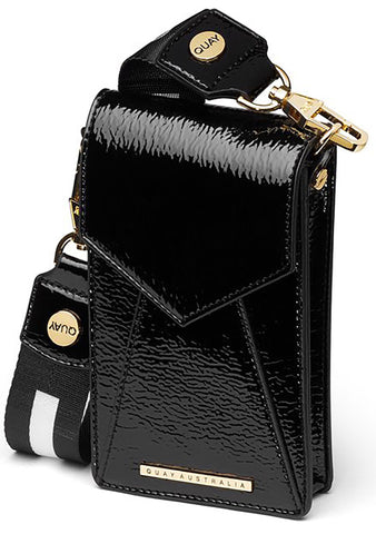 Phone Case Crossbody Bag in Black/Gold