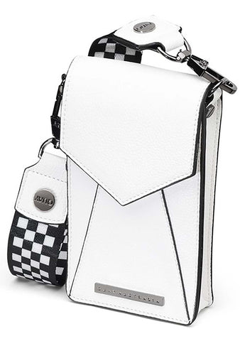 Phone Case Crossbody Bag in White/Gunmetal