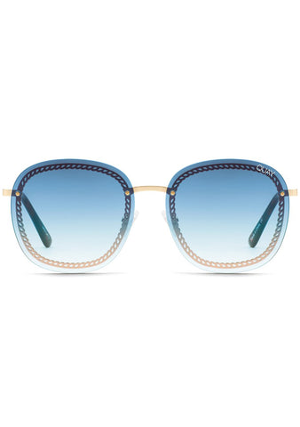 X Chrissy Teigen Jezabell Chain Sunglasses in Gold Blue Fade