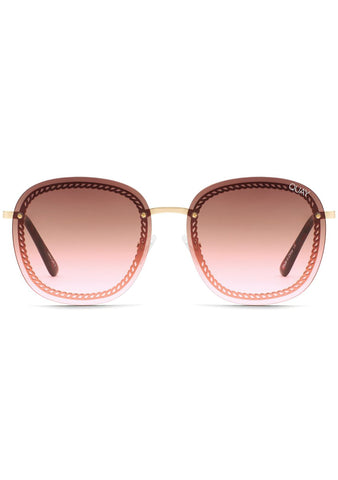 X Chrissy Teigen Jezabell Chain Sunglasses in Gold Brown Pink