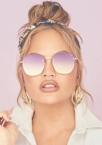 X Chrissy Teigen Jezabell Rimless Sunglasses in Rose Purple Pink Yellow